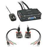 Lindy VGA KVM Switch Compact USB 2.0 Audio 2 Port