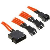 BitFenix Molex zu 3x 3-Pin Adapter 20cm - sleeved orange/schwarz
