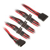 BitFenix Molex zu 4x SATA Adapter 20 cm - sleeved schwarz/rot/schwarz