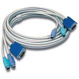 (€5,64*/1m) 3.00m Trendnet KVM Anschlusskabel VGA 15pol Stecker + 2xPS2 Stecker auf VGA 15pol Stecker + 2xPS2 Stecker Grau
