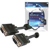 (€1,58*/1m) 5.00m MediaRange VGA Anschlusskabel doppelt geschirmt VGA 15pol Stecker auf VGA 15pol Stecker Schwarz Ferritkern / schraubbar
