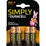 Duracell Simply AA / Mignon Alkaline 1.5 V 4er Pack