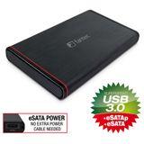 "1000GB Fantec 225U3eSATAp 15706 2.5"" (6.4cm) USB 3.0/eSATA schwarz/alu"