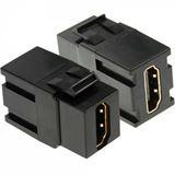 InLine HDMI Snap-In Einsatz, HDMI A Buchse/Buchse, schwarzes Gehäuse