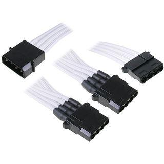 BitFenix Molex zu 3x Molex Adapter 55cm - sleeved weiß/schwarz
