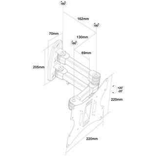 "Zignum M050-37 TV-Wandhalter 17-37"" (bis 93,98cm) Stahl schw."