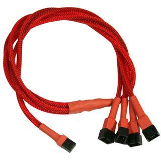 Nanoxia 60 cm rotes Adapterkabel für 3-Pin Molex zu 4x 3-Pin (NX34A60R)