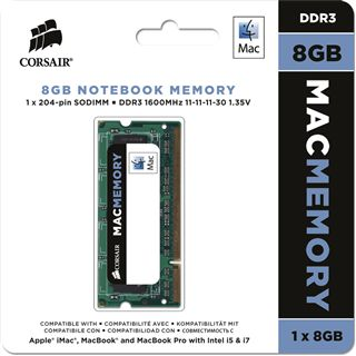 8GB Corsair Mac Memory DDR3-1600 SO-DIMM CL11 Single