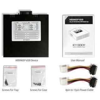 """Icy Dock ToughArmor 5.25"""" Wechselrahmen für 6x 2,5"""" Festplatten (MB996SP-6SB)"""