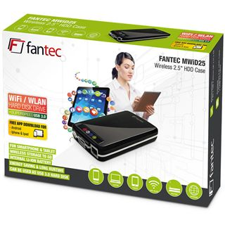 "1000GB Fantec MWiD25 Mobile WLAN 16366 2.5"" (6.4cm) USB 3.0/LAN/WLan schwarz"