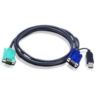 1.20m ATEN Technology KVM Anschlusskabel VGA 15pol Stecker + USB A Stecker auf SPHD 15pol Stecker Schwarz