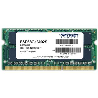 8GB Patriot Signature Line DDR3-1600 SO-DIMM CL11 Single