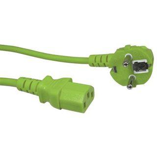 1.80m Good Connections Stromkabel Anschlusskabel Kaltgeräte Buchse auf Schutzkontakt Stecker Grün