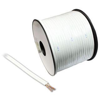 75.00m Audio Lautsprecherkabel Standard ohne Stecker Weiß auf Spule/2x 1,5mm²