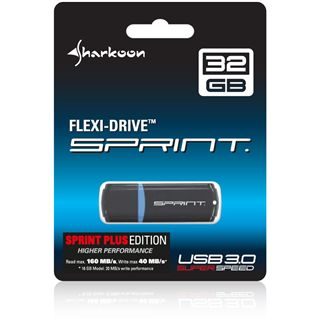32 GB Sharkoon Flexi-Drive Sprint Plus schwarz/blau USB 3.0