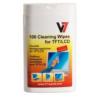 (€0,04*/1L) V7 Laptop/Netbook/Tablet/Monitore/portable Geräte Reinigungstuch 100 Stück Spenderdose (VCL1522)