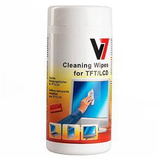 (€0,04*/1L) V7 Laptop/Netbook/Tablet/Monitore/portable Geräte Reinigungstuch 100 Stück Spenderdose (VCL1513)