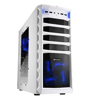 Sharkoon REX3 Value blau beleuchtet mit Sichtfenster Midi Tower ohne Netzteil weiss