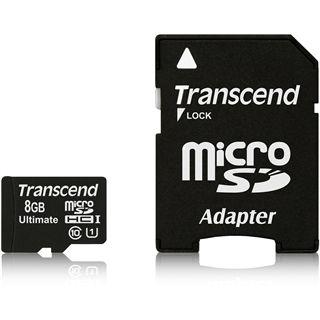 8 GB Transcend UHS-I microSD Class 10 Retail inkl. Adapter