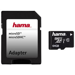 64 GB Hama UHS-I Tablet PC microSDXC Class 10 Retail inkl. 2 Adapter