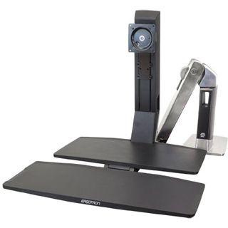 Ergotron 24-317-026 WorkFit-A II LD mit Arbeitsfläche+ Tischhalterung schwarz/silber
