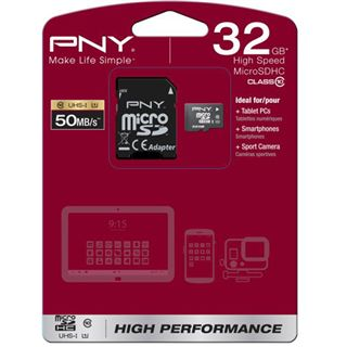 32 GB PNY Performance microSD Class 10 Retail inkl. Adapter