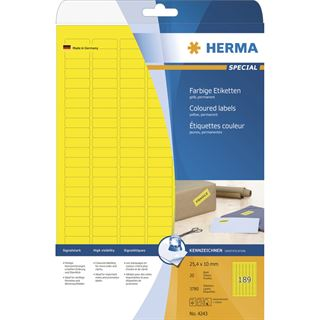 Herma 4243 gelb Universal-Etiketten 2.54x1 cm (20 Blatt (3780 Etiketten))