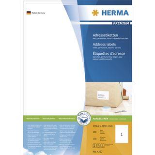 Herma 4252 Premium Adressetiketten 19.96x28.91 cm (100 Blatt (100 Etiketten))