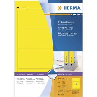 Herma 4296 blickdicht gelb Ordneretiketten 19.2x6.1 cm (100 Blatt (400 Etiketten))
