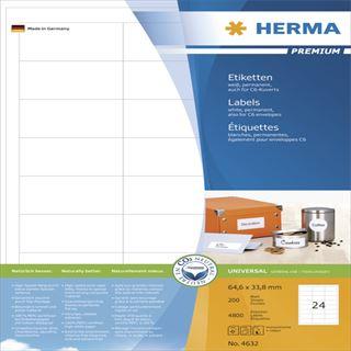 Herma 4632 Premium Universal-Etiketten 6.46x3.38 cm (200 Blatt (4800 Etiketten))
