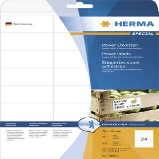 Herma 10905 stark haftend Universal-Etiketten 7.0x3.6 cm (25 Blatt (600 Etiketten))