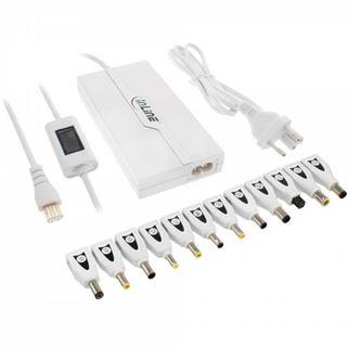 InLine Universal Slim-Netzteil für Notebooks, 70W, Farbdisplay im Kabel, USB, 100-240V, weiß mit 12 Wechselsteckern